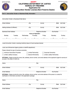 California Ammunition Vendor License