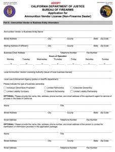 California Ammunition Vendor License